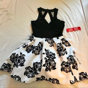 Black and White Floral Mini Dress
